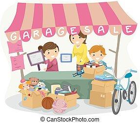 garázs, gyerekek, kiárusítás