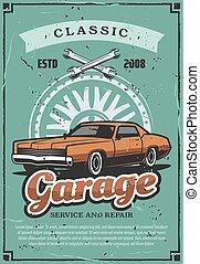 garázs, megjavítás, szolgáltatás, vektor, szüret autó