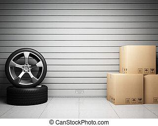 garázs, noha, autó, alkatrészek