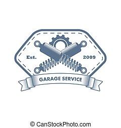 garázs, vektor, szolgáltatás, jel