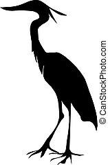 garça, silueta, pássaro