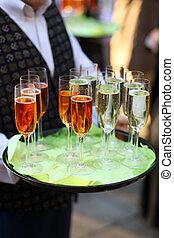 garçom, óculos champanha