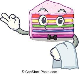 garçom, arco íris, forma, bolo, caricatura