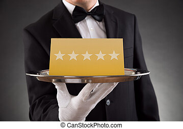 garçom, avaliação, servindo, estrela