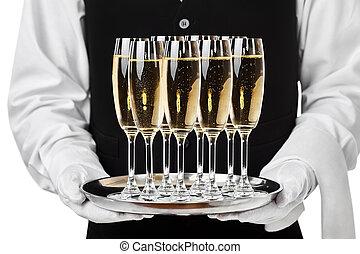 garçom, bandeja porção, champanhe