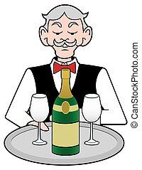 garçom, champanhe