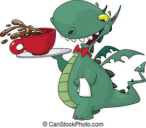 garçom, engraçado, café