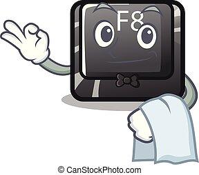 garçom, f8, botão, installed, ligado, computador, mascote