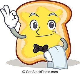 garçom, fatia, personagem, caricatura, pão