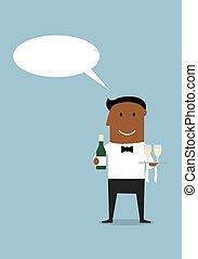 garçom, feliz, garrafa vinho, óculos