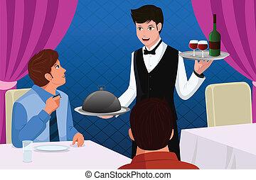 garçom, fregueses, servindo, restaurante