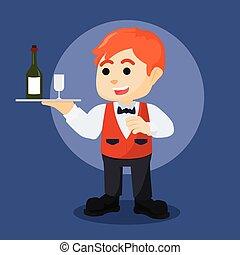 garçom, garrafa, vinho