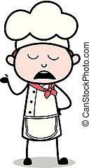 garçom, -, ignorância, ilustração, cozinheiro, vetorial, macho, caricatura