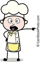 garçom, -, ilustração, cozinheiro, shouting, vetorial, macho, caricatura