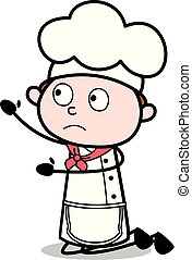 garçom, mendicância, -, cozinheiro, vetorial, illustration?, macho, caricatura