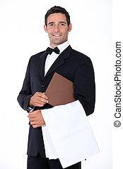 garçom, menu, bem-vestido, segurando