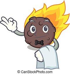 garçom, meteorito, estilo, caricatura, mascote