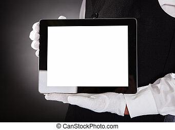 garçom, segurando, tablete digital