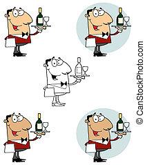 garçom, servindo, vinho