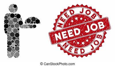 garçom, trabalho, selo, ficar, necessidade, angústia, colagem