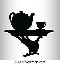 garçom, traz, vetorial, silueta, chá