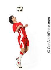 garçon, à, boule football, footballeur