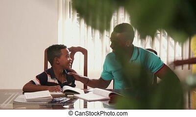 garçon, école, étudier, père, portion, enfant, education, devoirs