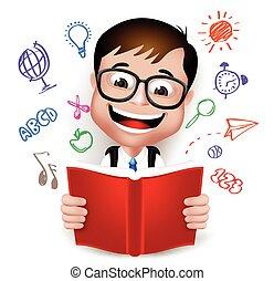 garçon, école, caractère, 3d, intelligent, gosse