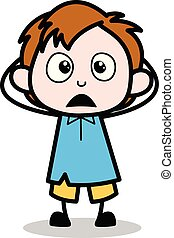 garçon, école, caractère, -, illustration, vecteur, dessin animé, merveille