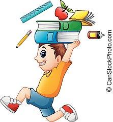 garçon, école, courant, porter fournit, dessin animé