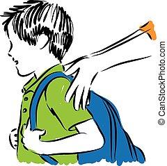 garçon, école, dos, illustration
