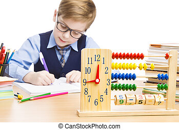 garçon, école, horloge, étudiants, education, pupille, enfant, abaque