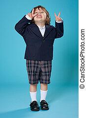garçon, école, jeune, uniforme