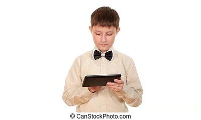 garçon, école, lent, tablette, mouvement, fond, informatique, utilisation, blanc, jouer