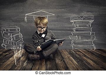 garçon, école, lire, tableau noir, sur, livre, sur, education, livres, fond, rêver, lecture, enfants, gosse