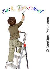 garçon, école, peinture, dos