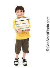 garçon, école, texte, dos, livres, enfant