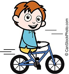 garçon, école, vélo, caractère, -, illustration, vecteur, équitation, dessin animé