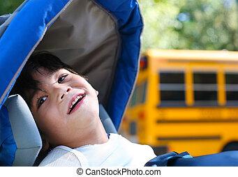 garçon, école, vieux, autobus, fauteuil roulant, dehors, handicapé, cinq, année