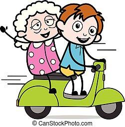garçon, école, vieux, caractère, scooter, -, illustration, vecteur, équitation, dame, dessin animé