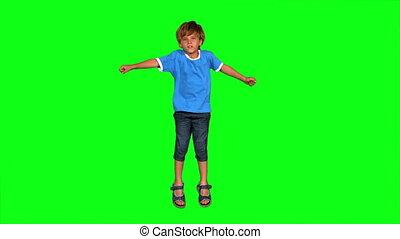 garçon, écran, sauter, vert