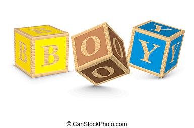 garçon, écrit, blocs, mot