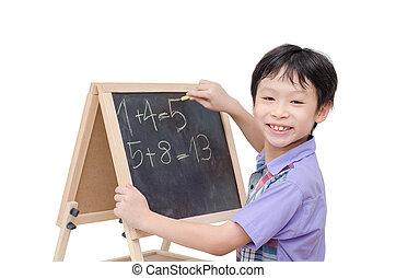garçon, écriture, entre, réponse, sourire, math