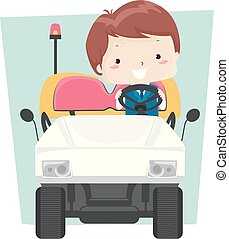 garçon, électrique, illustration, aéroport, véhicule, gosse