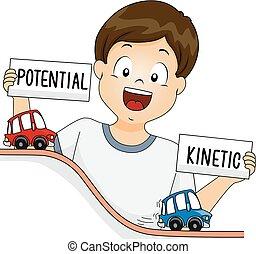 garçon, énergie, illustration, potentiel, cinétique, gosse
