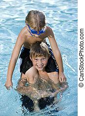 garçon, épaules, brother's, piscine, séance