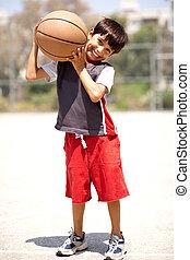garçon, épaules, sien, basket-ball