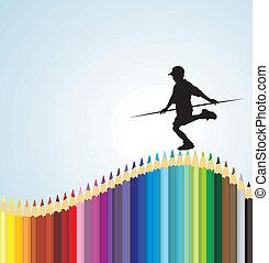 garçon, équilibrage, crayon
