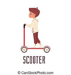 garçon, équitation, illustration, vecteur, scooter.