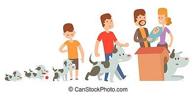 garçon, étapes, chien, illustration, vecteur, kife, amis